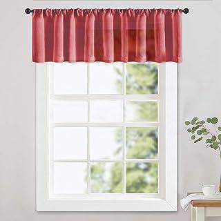 Sheer Valances 16 inches Long Christmas Xmas Holiday Living Room Bedroom Valance Red Sheer Curtain Light Filtering Rod Poc...