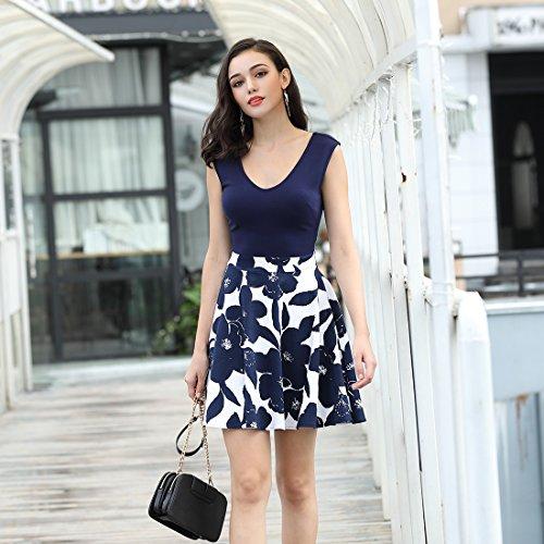MIUSOL Kleid V-Vusschnitt Armellos Blume Patterned Mini Casual Kleid Navy Blau Gr.XL - 7