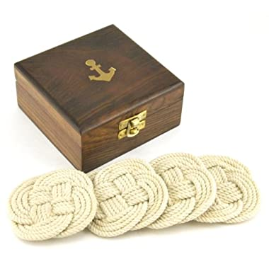 Sailor's Rope Coaster Set, Nautical Anchor Cherry Wood Box Holder, 4.75-inch