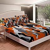 Homewish Juego de sábanas y fundas de almohada con diseño de camuflaje, color naranja y negro