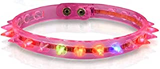 Light Up Spike Choker Necklace LED Goth Collar (Pink)