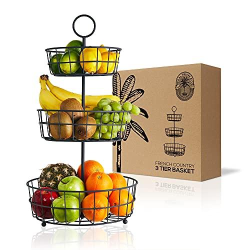 Cesta de frutas de 3 pisos - Cesta de alambre de estilo francés de Regal Trunk & Co. Cesta de frutas de tres pisos para almacenar y organizar verduras, huevos y más Cesta de frutas para el mostrador o para colgar (3 pisos)