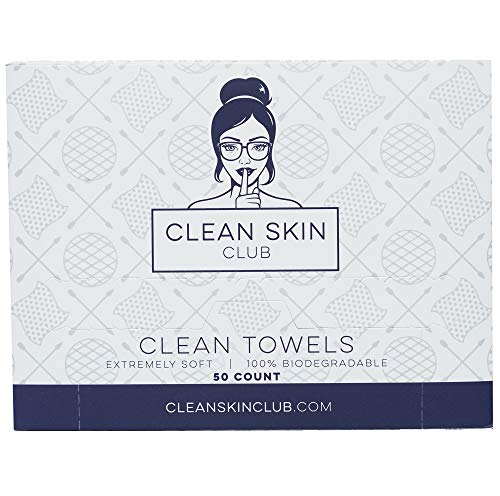 Clean Skin Club - Clean Towels XL | World's 1ST Biodegradable Face Towel | Disposable Makeup Removing Wipes | 100% Organic Viscose | 50 CT | Super Soft for Sensitive Skin | Dry Cleanser Towelettes (50 Count (Single Box))