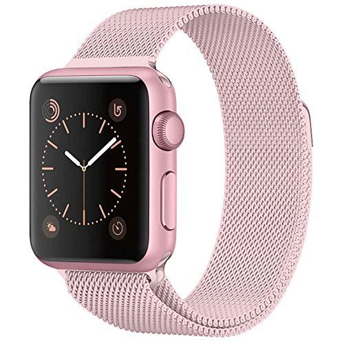 WeiYun Pulsera de Acero Inoxidable para Apple Muestra el Soporte metálico para Smart PM,Rosado