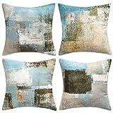 Hanrunsi - Fundas de cojín vintage, 45cm x 45cm, juego de 4fundas decorativas para sofás