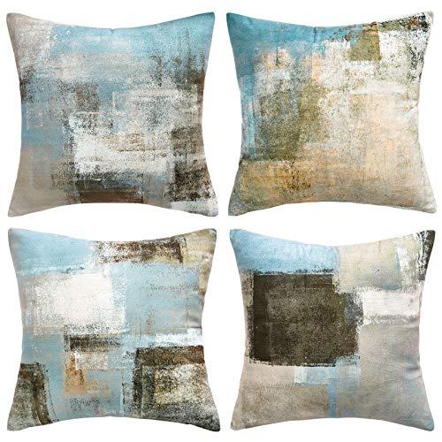 Hanrunsi Juego de 4 fundas de cojín decorativas de color gris, 45 x 45 cm, para sofá o cama, color gris