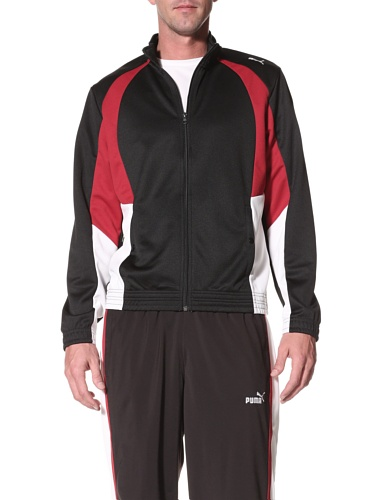 PUMA Men's Mesh Track Jacket, Black/Rio Red/White, XL