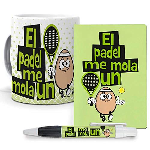 Pack Original y Personalizado para Regalo, Ideal para Hobby. El Padel me Mola un Huevo. Libreta, boligrafo y Taza Maxima Calidad.