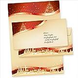 TATMOTIVE 05-0145-0090-00100 ROT-GOLDEN 100 Sets Weihnachtsbriefpapier mit...