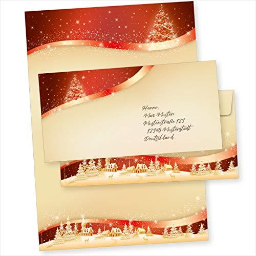 TATMOTIVE 05-0145-0090-00100 ROT-GOLDEN 100 Sets Weihnachtsbriefpapier mit Umschläge ohne Fenster, für Geschäftskunden