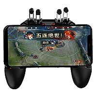 荒野行動最新型一体式PUBG Mobile 荒野行動 Pubgコントローラー ゲームパット 6本指操作可能 押しボタン&グリップの一体式 高感度射撃ボタン 高速射撃 スクリーンに優しい トリガー 一体ハンドル サイズ調節可能 手触り改良 優れたゲーム体験IOS/Android 各種ゲーム対応