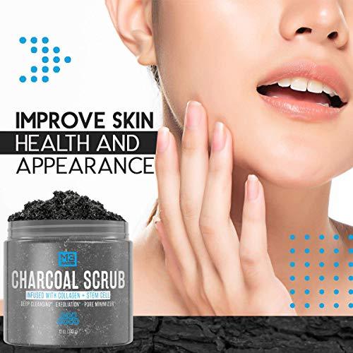 Premium Activated Charcoal Scrub 12 OZ - All Natural Pore Minimizer - Reduces Wrinkles, Blackheads &...