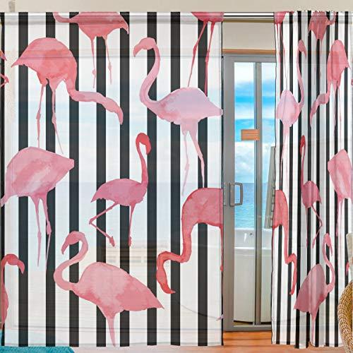 Ahomy Flamingo schwarz weiß gestreift Voile Vorhang für Küche Wohnzimmer Schlafzimmer 2 Panels 140 x 198 cm, Polyester, Multi, 139.7x213.4 cm