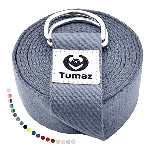 Tumaz Yoga Strap/Stretch Bands [15+ Colors, 6/8/10 Feet Options] with Extra Safe Adjustable D-Ring Buckle, Durable and…
