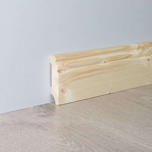 Sockelleiste Fußbodenleiste Altbau-Leiste Hamburger Profil aus unbehandeltem Fichte-Massivholz 2400 x 18 x 70 mm (mit kleinem Kabelkanal)