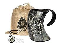 ZAHANAARA's Vikings Valhalla Game of thrones stark house viking drinking horn mug wolf carved tankard for beer wine mead ale