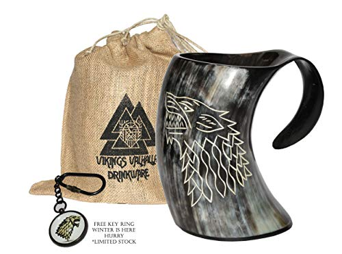 ZAHANAARA's Vikings Valhalla Game of thrones stark house viking drinking horn mug wolf carved tankard for beer wine mead ale