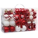 Dimensioni: 36 * 24 * 12 cm, lista dei pacchetti: 100 decorazioni per alberi di Natale in scatola di plastica trasparente, peso: 820g. Il contenuto del pacchetto è molto ricco: palle di Natale rosse e bianche, palle di Natale a forma di pupazzo di ne...