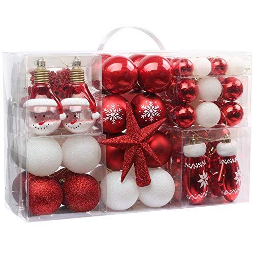 Victor's Workshop Palline di Natale 100 Pezzi Palline di Plastica Impostare Ornamento Dell'Albero di Natale per La Decorazione Dell'Albero di Natale Decorazioni per Le Feste di Natale Rosso Bianco