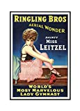 Ringling Bros - Dainty Miss Leitzel Vintage Poster (artist:) USA c. 1918 (16x24 Framed Gallery Wrapped Stretched Canvas)