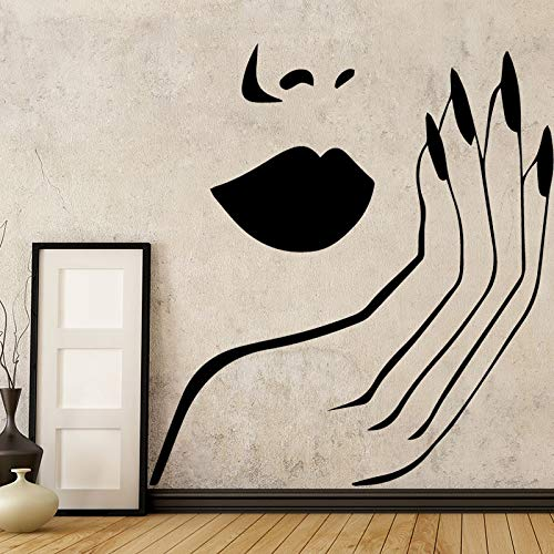 (muro adesivo vinile estetista faccia labbra rosse muro arredamento adesivo arredamento murale salotto cameretta adesivo 58x59cm