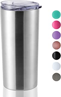 ONEB Travel Tumbler with Lid 14oz | Double Wall Vacuum Stainless Steel for Coffee, Tea, Beverages (Silver, 1pack)