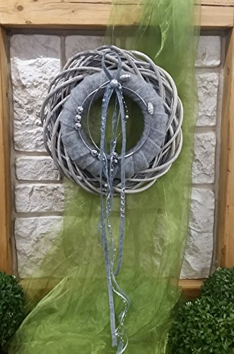 HIKO-EVENTDEKO Türkranz Wandkranz Nr.18 Doppelkranz 35 cm grau Silber Filz Perlen Türdekoration