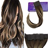LaaVoo 16 Pouces Extensions de Cheveux Humains Dark Brown to Ash Blonde and Brown...