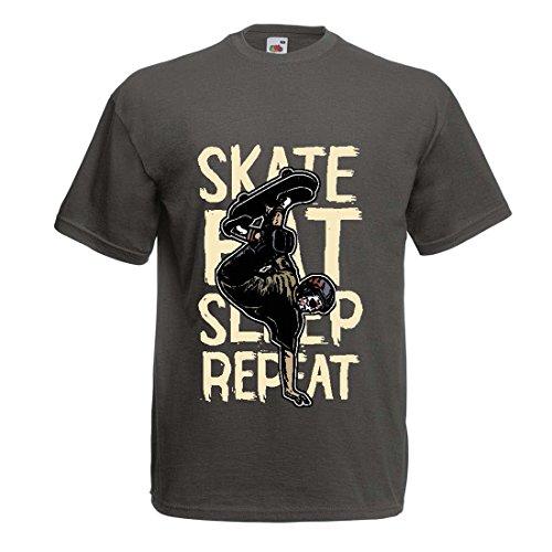 lepni.me Camisetas Hombre Eat-Sleep-Skate-Repeat para el Amante del monopatín, Regalos del Skater, Ropa Que anda en monopatín (Medium Grafito Multicolor)