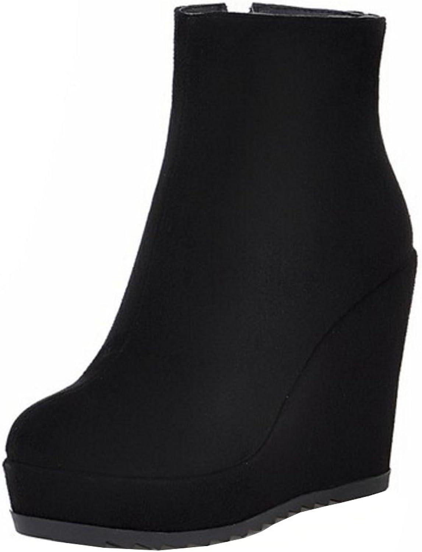 KemeKiss Women Fashion Platform Wedges High Heel Ankle Boots