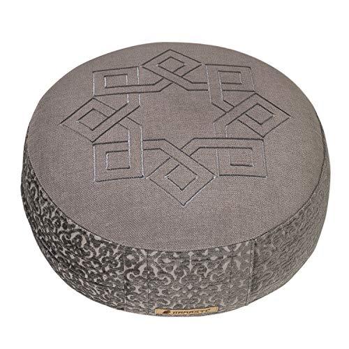 Yogishop Meditationskissen Sangit, rund Sufidance lichtgrau
