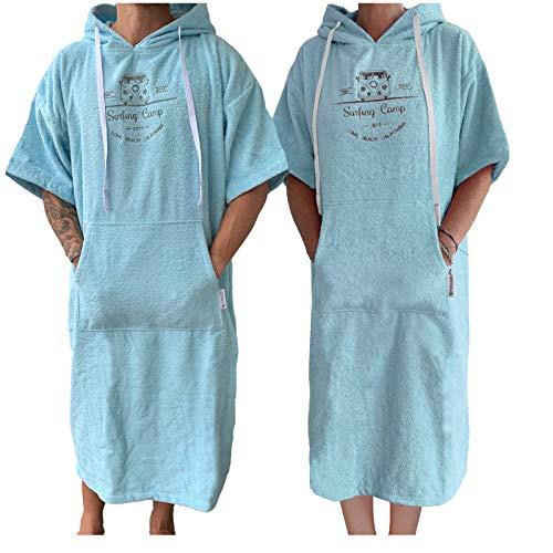 HOMELEVEL Damen und Herren Frottee Surfponcho mit Kapuze und Stickerei 100% Baumwolle Strandponcho Poncho Badeponcho Hellblau S/M
