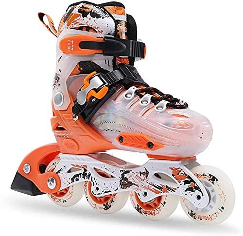 Patines en línea para niños ajustables recta fila rodillo cuchillas hombres y mujeres principiantes patines-naranja_S