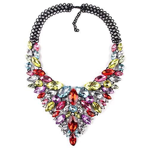 guodong Collar De Diamantes De Color Gota De Ojo De Caballo Europeo Y Americano Cena Collar De Gama Alta Cadena De Clavícula Femenina