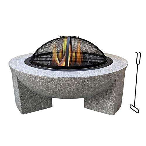 FMXYMC Outdoor Fire Pit Table, Outdoor Heater Wood Burning, Patio Fireplace Table, with Deep Fire Pit Bowl/Net Cover/Chrome Grilled Wire Mesh/Black Charcoal Tray
