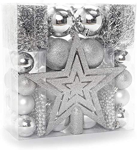 HEITMANN DECO Weihnachtsbaum-Schmuck - Silber - 45-teilig - Set inkl. Baumspitze, Kugeln, Perlketten und Girlanden - Kunststoff
