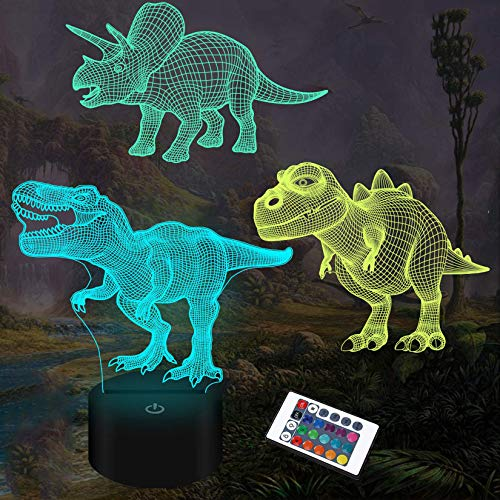 Luz nocturna para niños, regalos de dinosaurios, 3D, 3 patrones, con mando a distancia y 16 funciones de cambio de color y regulable, regalo de Navidad para jóvenes, adultos, niños, niñas