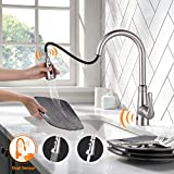 Touchless Kitchen Faucet, Dalmo DAKF5F Kitchen Faucet with Pull Down Sprayer, Single Handle Sensor Kitchen Sink Faucet with 3 Modes Pull Out Sprayer, Brushed Nickel Plating Dual Sensor Sink Faucet