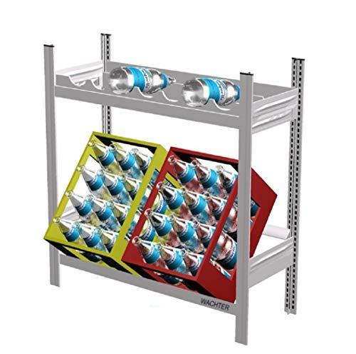 Getränkeregal mit 1 Ebene für 2 Kisten und 1 Ebene für 7-12 Weinflaschen