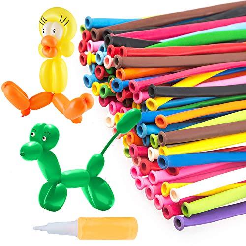 MOOKLIN 200Pcs Modelado de Globo Globos Largos Multicolores Globos de Animales + Bomba de Globo (Color Aleatorio) para Cumpleaños de niños Boda o Decoración navideña