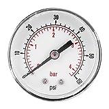 Manómetro, dial de 50 mm Manómetro axial de 1/4 BSPT para aire, agua, petróleo y gas(0-60psi 0-4bar)