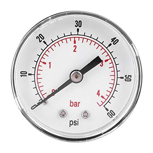Manómetro de presión de aire, manómetro de presión Conexión trasera del manómetro, para aire, agua,(0-60psi 0-4bar)