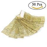 50Pcs Anelli Portatovagliolo 8 Rows Gold Chair Sash Tovagliolo Anelli Sparkling Diamond Me...