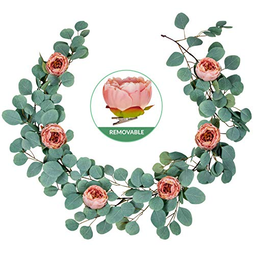 Tall Glass, LLC Artificial Eucalyptus Garland with Detachable Peony Flowers - Thick Full Realistic Forever Green Leaves Ivy Vine Plant Greenery Decoration Wedding Backdrop, Table Runner, Mantle Swag
