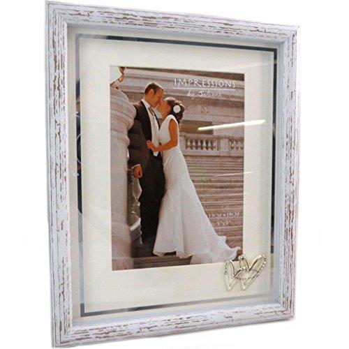 Les Trésors De Lily [P6531 - Cadre Photo Bois 'Romance' Blanc Vintage - 13x18 cm