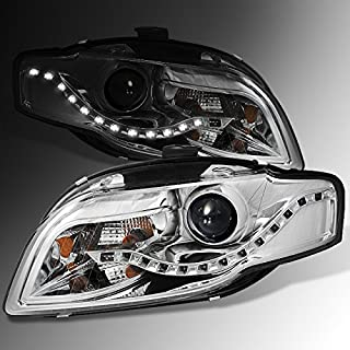 For 2006-2008 Audi A4 4 Door Sedan Wagon DRL LED Projector Halogen Type Headlights Replacement Pair