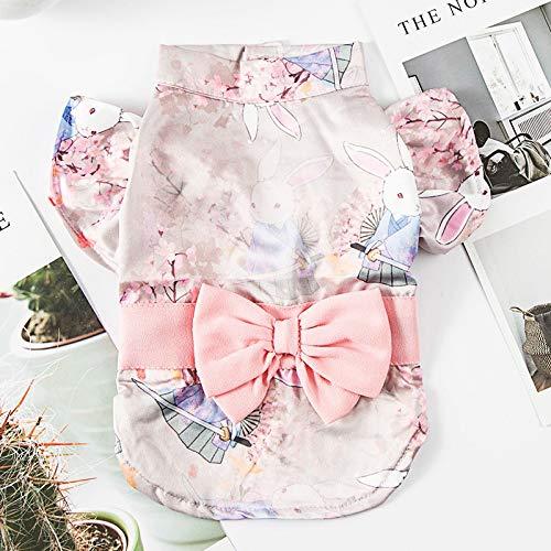 HKHJN Hond kleding dunne sectie zomer dag kimono twee-benige kleding boog zomer kat huisdier kleding