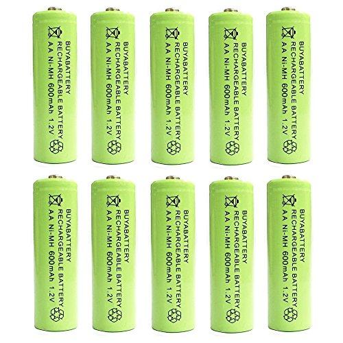 BuyaBattery AA 1.2v 600mAh NiMH Rechargeable Solar Light Batteries for...