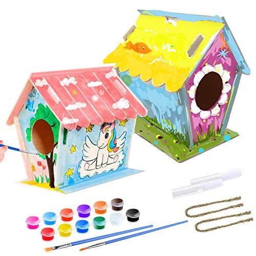 2 Stück Vogelhaus Bausatz, Kinder Holz Vogelhaus, DIY Holz Vogelhaus Kits, Machen Sie kreative Spielzeuggeschenke für Kindergeburtstag und Festival, 12 Farben und 2 Pinsel für Kinder, 2 Klebe