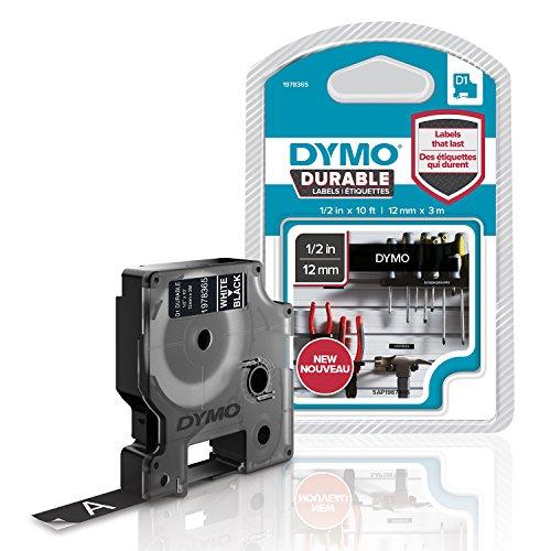 Dymo 1978365 D1 Hochleistungs-Etikettenband (für LabelManager-Etikettendrucker, weiß auf schwarz, 12mm B x 3 m L) 1 Kassette